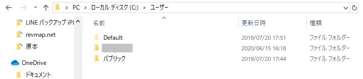 Cドライブの「Users」フォルダ
